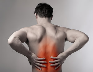 Home. Man lower back pain